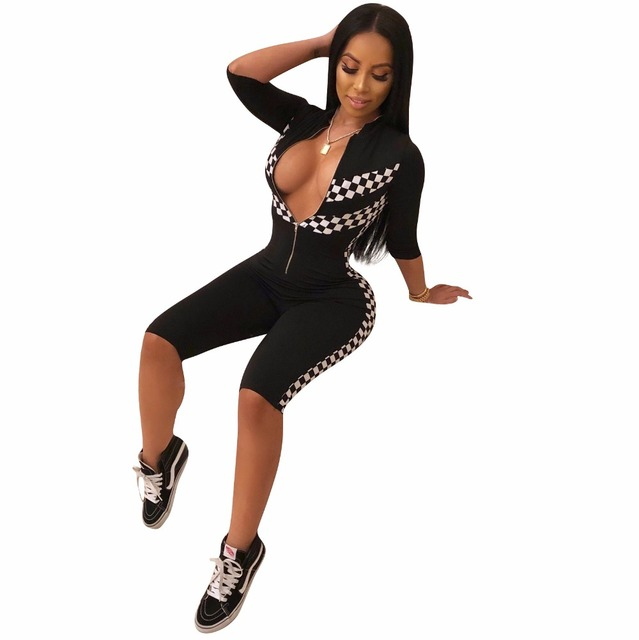 073ca7721286 2018 Summer Checkerboard Sexy Playsuit Moto Biker Overalls Plaid Bodysuit  Fitness Casual Bodycon Rompers Women Jumpsuit S-3XL