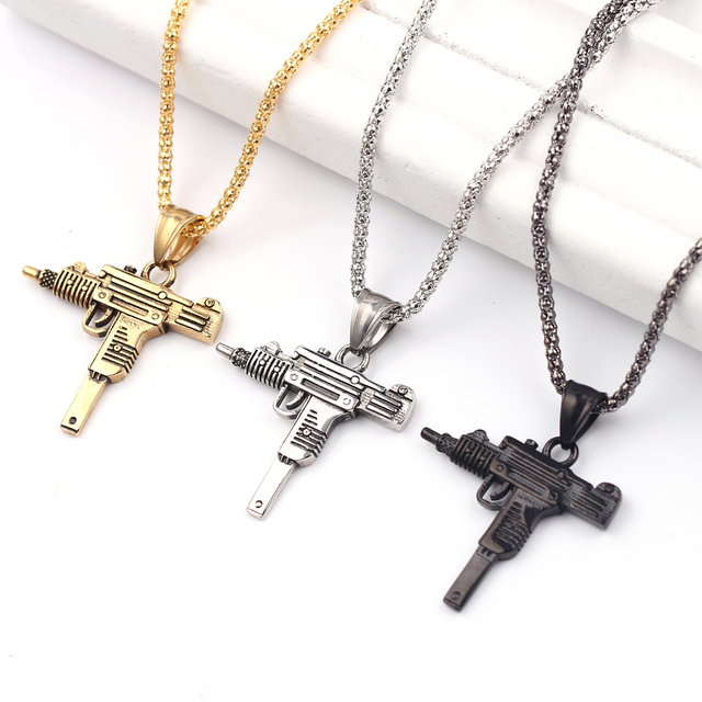 Fashion Hot Pistol Gun Uzi Necklaces men Hip Hop Dance Franco Chain Maxi Charm Long Pendant Necklace 3 Color Accessories
