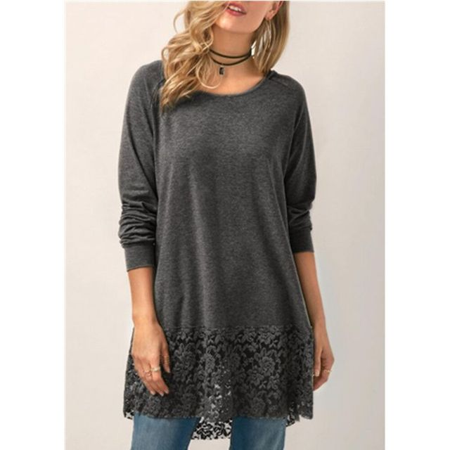 Women Loose Casual Lace...