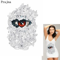 Prajna Pre-sale Wholesale Iron On Transfer White Big Size Eye Patches For Clothing Appliques De Roupa Patch For Jeans Dress DIY