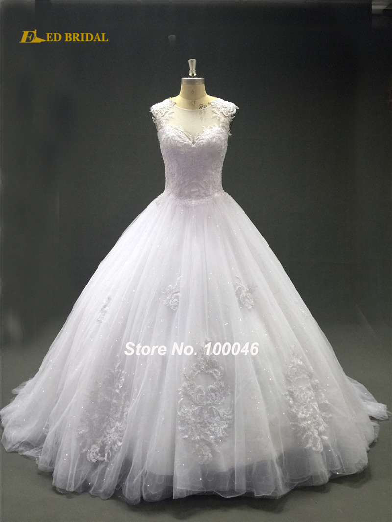 Ball gown wedding dresses glitter sequin lace underneath for Add sparkle to wedding dress