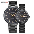 LONGBO luxury couple watch Fashion brand quartz watch full Steel waterproof men's watch Elegant women dress watch 2016 colck