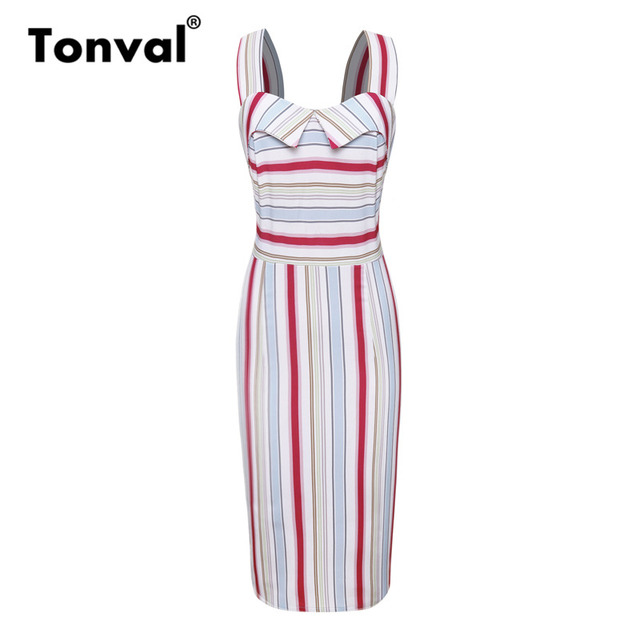 Tonval Multicolor Striped Bodycon Office Lady Dress Backless Elegant  Vintage Women Dresses Workwear Summer Sheath Dress f684491bf95c