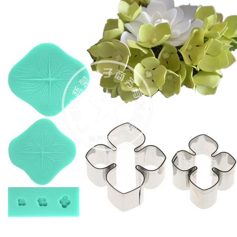 Hydrangea Flower Petal Silicone Veiner & Cutter Fondant Sugarcraft Mould Rustfrit Stål Cutter Cake Decorating Forme sæt