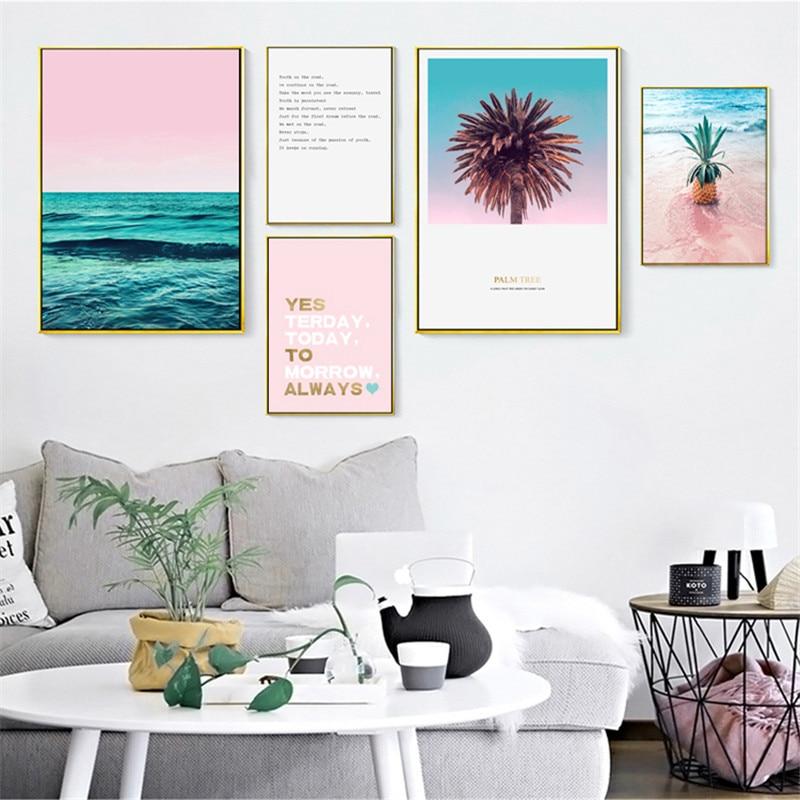 Roze zeegezicht citaat Nordic Canvas schilderij Home Decor kunst - Huisdecoratie