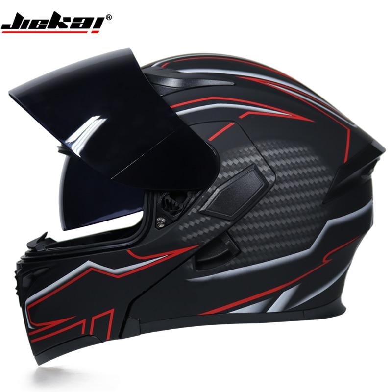 DOT cool double-objectif intérieur visière modulaire flip casque capacetes hommes chevalier moto rcycle casque de course tout-terrain moto casque