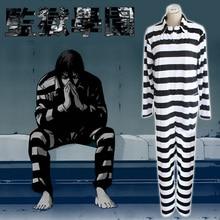 בית הספר Gakuen Kangoku כלא אסיר תלבושות Cosplay בגדים סיאמיים חליפת חתיכה אחת סרבל פסי כלא אחידים