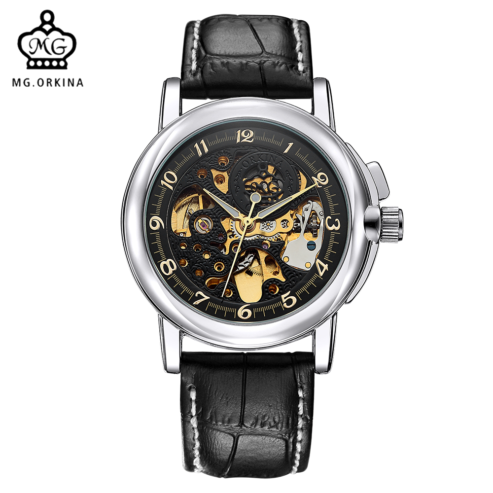 ORKINA Engraving Watches Mens Top Brand Luxury Watch Men Mechanical Skeleton Relogio Masculino Clock Male Montre Homme orkina relojes 2016 new clock mens watches top brand luxury herren cool watche for men with gift box montres