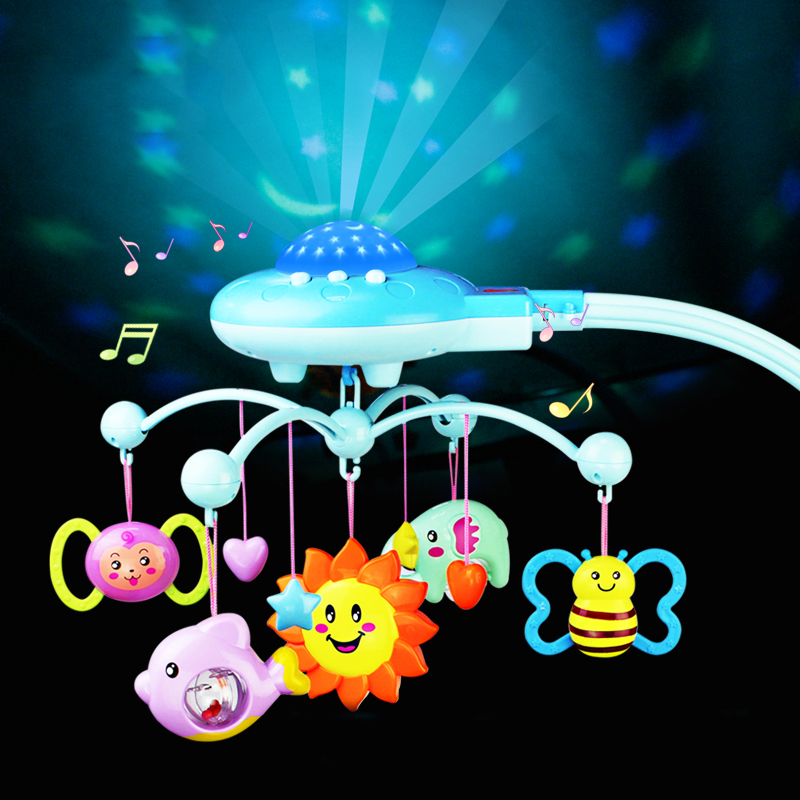 0 12Months Musical Crib Mobile Bed Bell Rotating Projection Music Box Cartoon Rattles Newborn Early Learning Baby Infant Toy