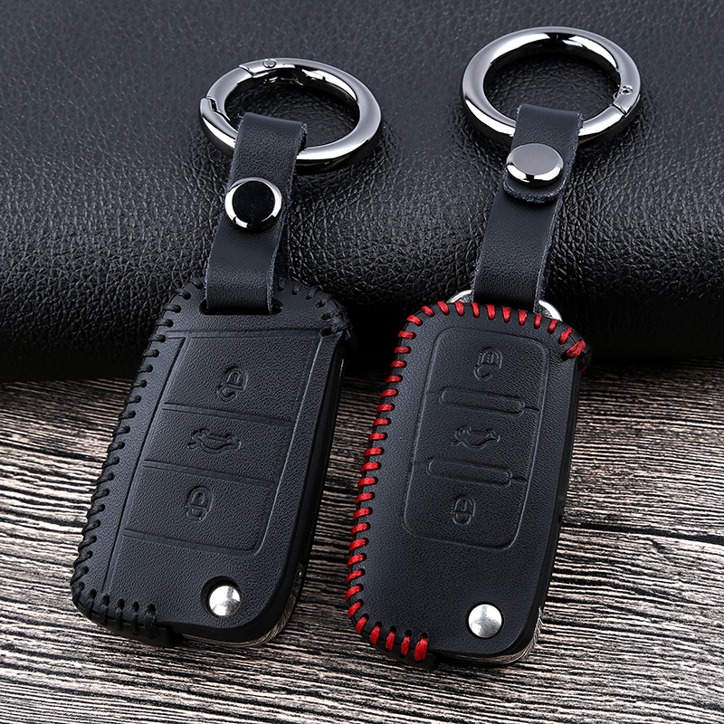 Leather Car Key Cover Case for VW Volkswagen Tiguan mk2 2017 2018 Magotan Passat B8 Polo Golf 4 5 6 7 mk7 Jetta mk6 Eos Scirocco title=