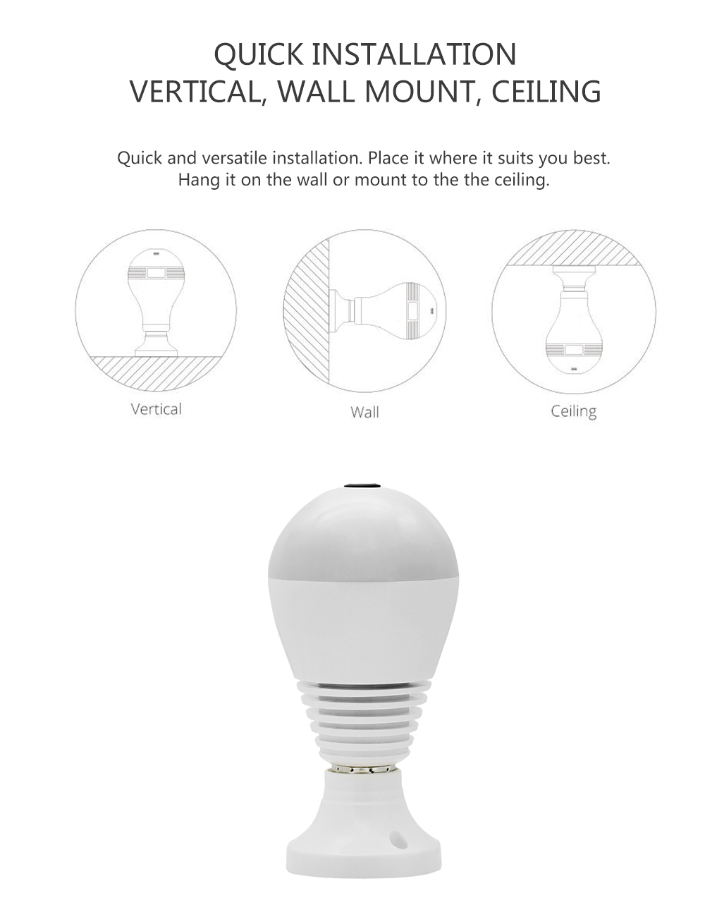 Wistino 960P Wireless VR Panoramic IP Camera Bulb Light Wifi FishEye 360 degree CCTV Surveillance Security Monitor Comone 1 (9)