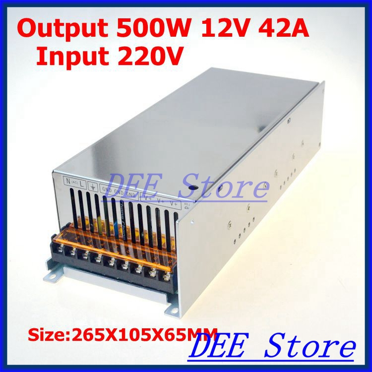 Led driver 500W 12V(0V-13.2V) 42A Single Output  ac 220v to dc 12v Switching power supply unit for LED Strip light s 500 12 power supply 12v 500w constant voltage ac to dc 12v 40a dc power unit supply industrial switching led driver