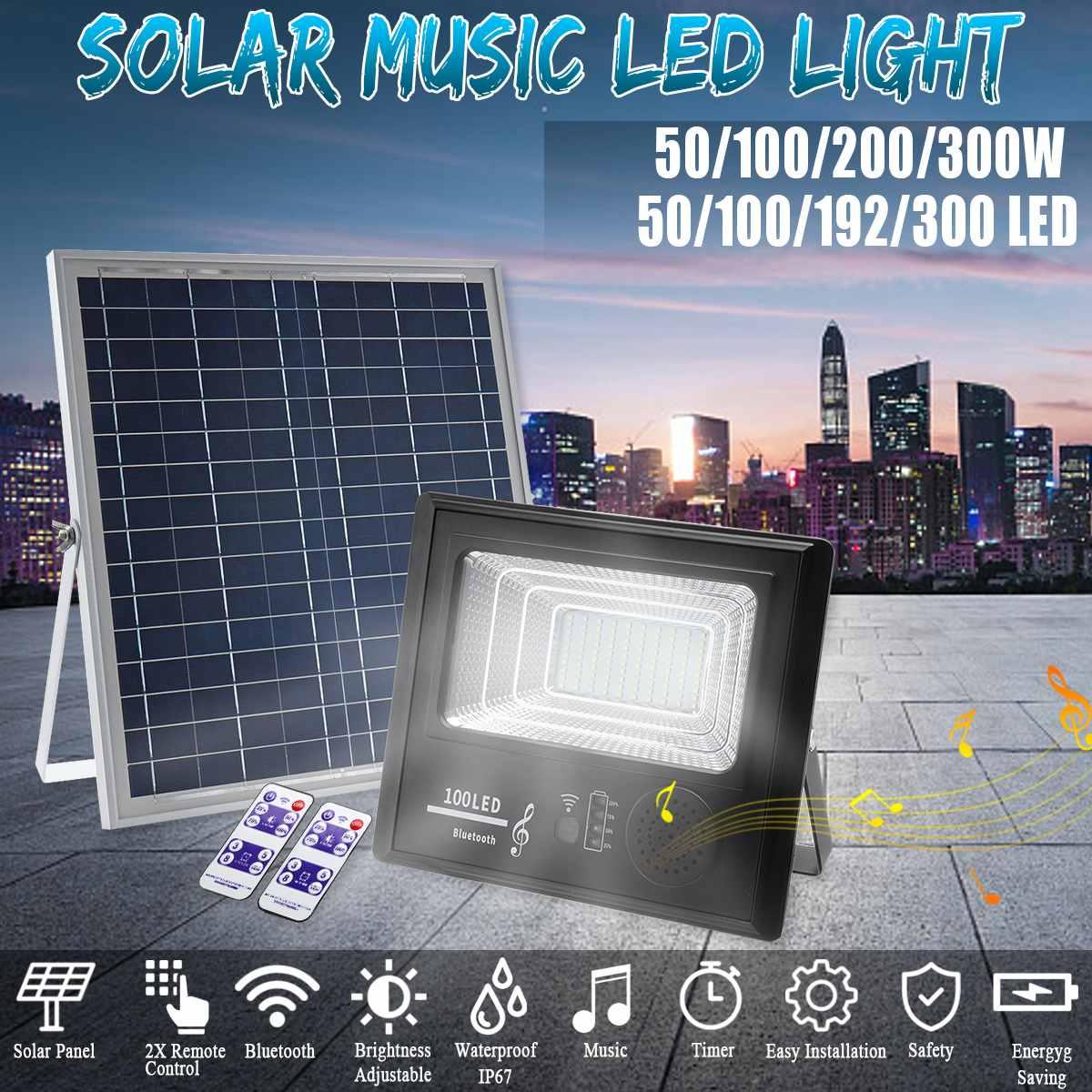 Светодиодный светильник на солнечной энергии 50/100/192/300, музыкальный прожектор с bluetooth динамиком, водонепроницаемая уличная лампа IP67, время р