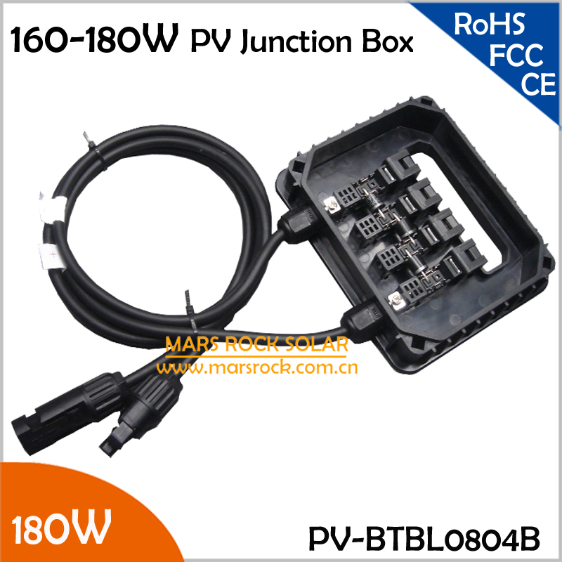 160-180W IP65 Waterproof Plastic Junction Box for Solar Panel, Outdoor Solar Terminal Box 180W, 160W PV Junction Box, 5pcs/Lot