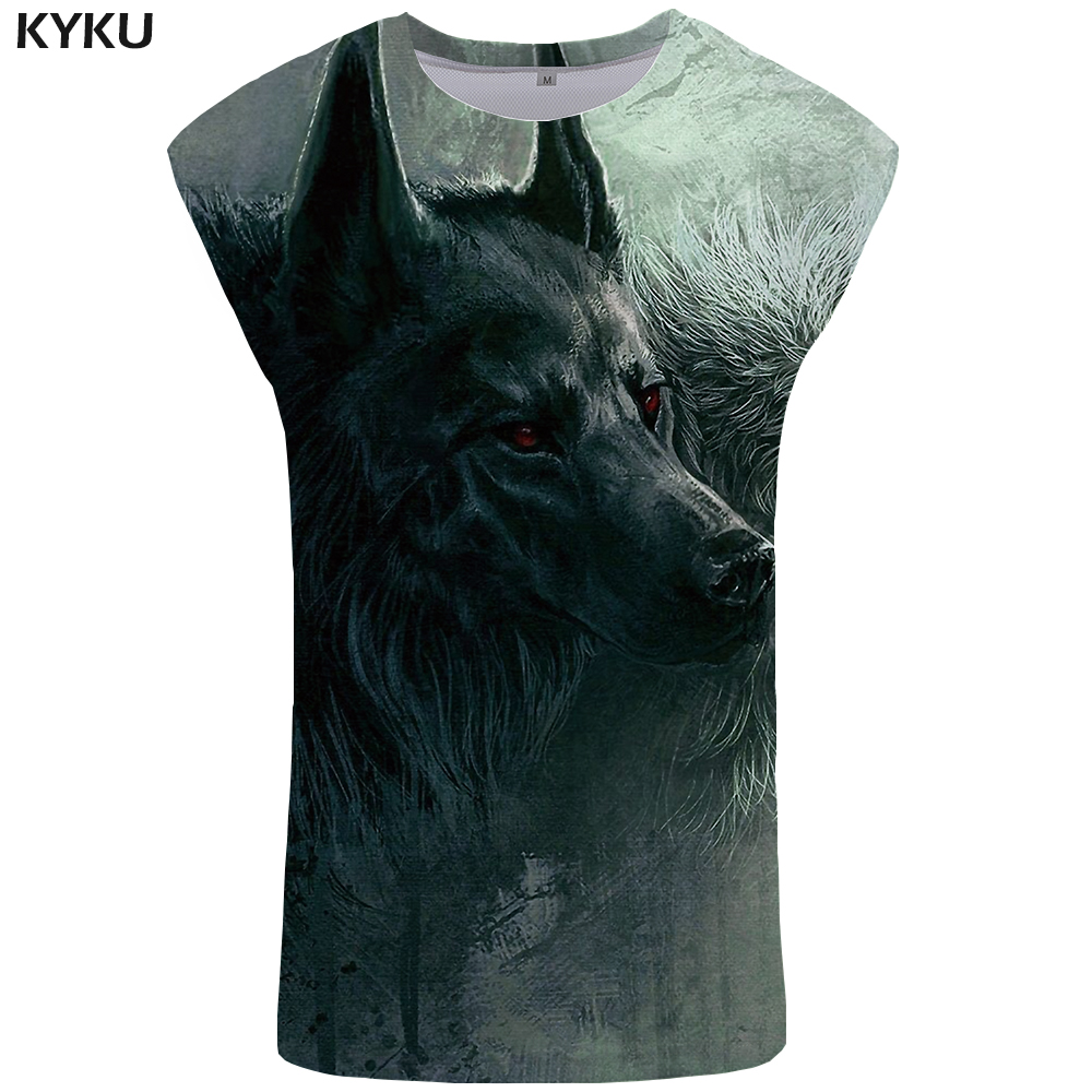 KYKU Brand Wolf   Tank     Top   Men Vintage Mens Bodybuilding Gothic Vest Animal Stringer Green Ftness Clothing Singlet