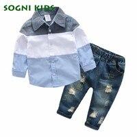 Children Clothing Set Autumn Casual Sport Baby Boys 2Pcs Korean Long Sleeve Blouse +Jeans Kids Clothes Gentleman Suit For 2 6T