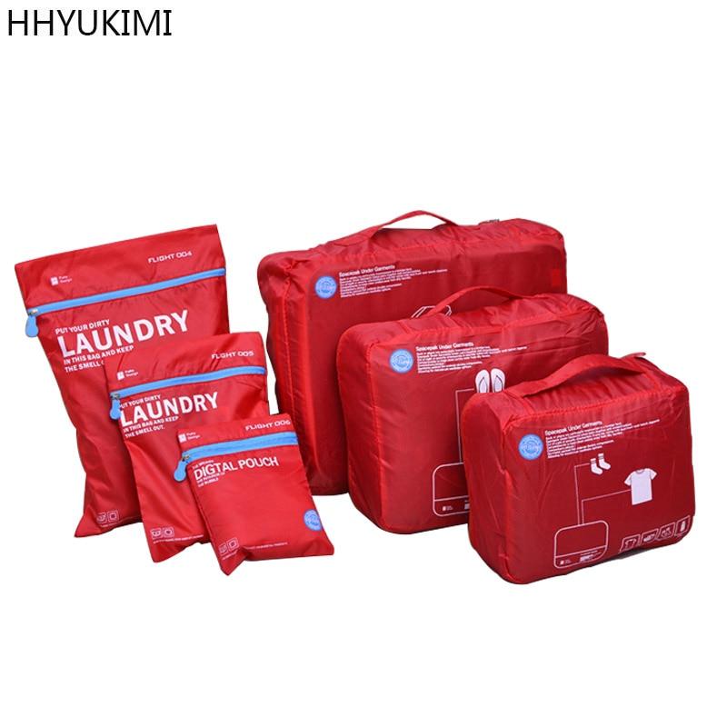 HHYUKIMI 6 Pcs/sets Travel Portable Finishing Storage Bag Luggage Clothes Tidy Pouch Suitcase Underwear Organizer Laundry Bags