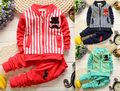 NUEVA Primavera Otoño Bebé Niños Niñas Ropa Set Niños de Manga Larga con capucha Sport Suit Set camiseta de Los Niños + pantalones 2 Unids Ropa Fijada