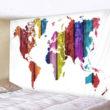 Nordic Style Wooden Board  World Map Tapestry Wall Hanging Polyster Beach Towel Polyester Thin Blanket Yoga Shawl Mat