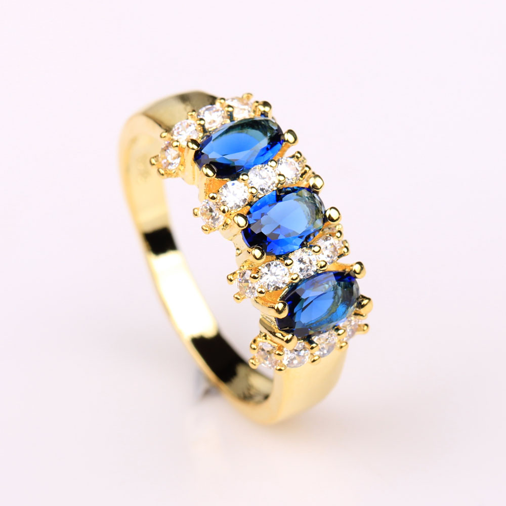 3 color green blue pink stone women wedding ring us 6 7 8 9 10 vintage 2016 gold-color jewelry gift engagement promise ring ...