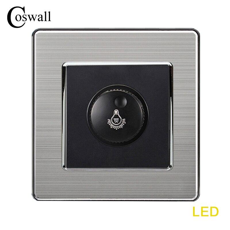 COSWALL Lamp Dimmer SCR Regulator Only For LED Light Bulb Stainless Steel Panel Wall Light Switch Interruptor 16A 0~300WCOSWALL Lamp Dimmer SCR Regulator Only For LED Light Bulb Stainless Steel Panel Wall Light Switch Interruptor 16A 0~300W