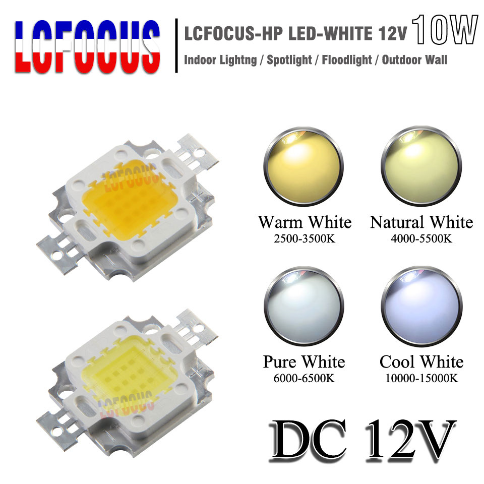 Wholesale DC 12V High Power LED COB Chip 10W Warm Natural Cool White SMD Diode For 10W 50W 100W Home Lighting Floodlight Bulb 2w g4 led bulb 12 smd 2835 12v dc ac warm cool white home lighting