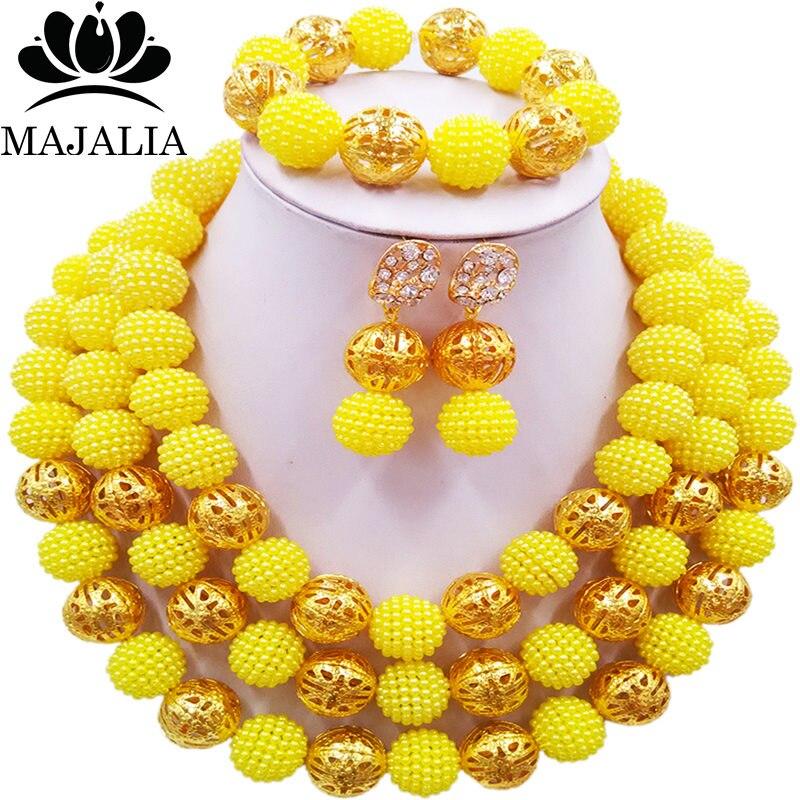 Majalia Fashion Nigeria Wedding African Beads Jewelry Set Yellow Crystal Necklace Bridal Jewelry Sets Free Shipping 3BU002Majalia Fashion Nigeria Wedding African Beads Jewelry Set Yellow Crystal Necklace Bridal Jewelry Sets Free Shipping 3BU002