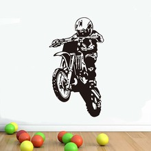 Free Shipping Motocross Wall Stickers Motorcycle Vinyl Adhesive Removable Decals For Boy Rooms Home Decoration