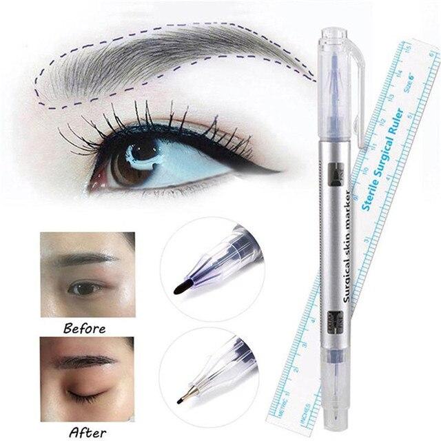 2 unids/set marcador de cejas resistente al agua tatuaje ceja piel Rotulador con medida Regla de medición delineador de labios cuerpo arte maquillaje herramientas