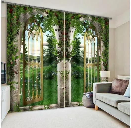 Modern Fantasy tree door 3D Blackout Curtains for Bedding room Living room Hotel Office Drape Cortinas