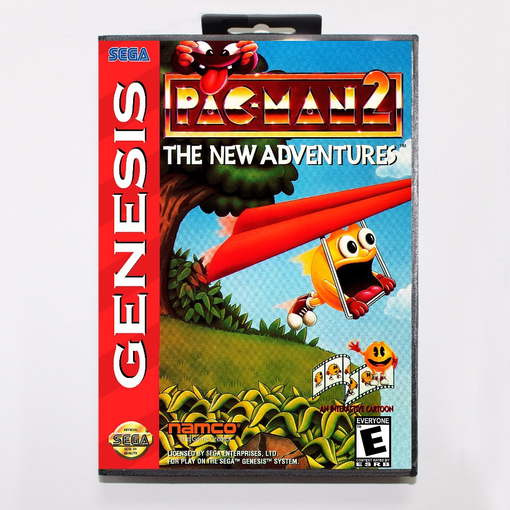 Pac Man 2 The New Adventures Game Cartridge 16 bit MD Game Card With Retail Box For Sega Mega Drive For Genesis