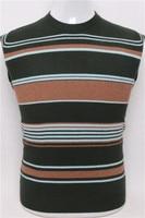 top grade pure goat cashmere men fashion o neck contrast color striped pullover sweater army green 2color S/4XL