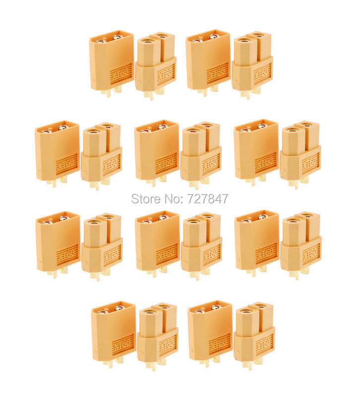 10 pairs XT30 XT60 Connector plug Male / Female Gold Plated Banana Plug for Battery quadcopter multicopter 10 pairs hot selling yellow xt30 xt60 xt90 high quality male female gold plated battery connector plug for rc aircraft