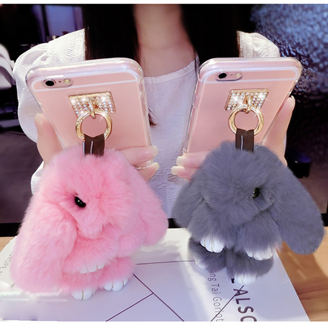 Case For iPhone 4S 5S 5C 6 6S 7 8 X Plus 3D Bunny Rabbit Fur Cover Fur Bling Case for Samsung Galaxy S5 6 7 8 plus Note 4 5 8 J7