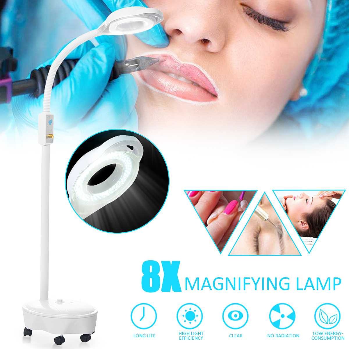 Pro 8X Diopter 120 LED loupe lampadaire lampe loupe verre lumière froide Len lumière du visage pour Salon de beauté ongles tatouage 220V
