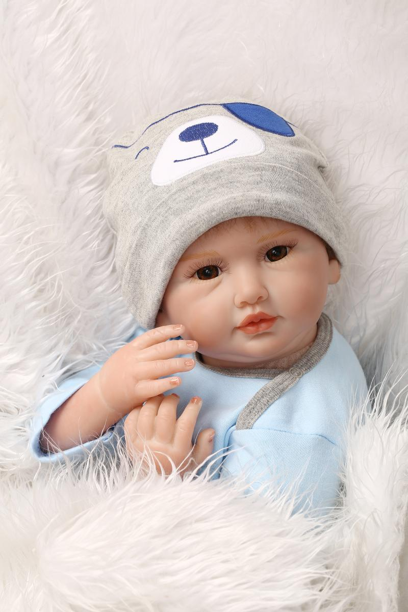 55cm Soft Body Silicone Reborn Baby Doll Toy For Girls NewBorn boy Baby High-end Birthday Gift To Child Bedtime Play House Toy цена