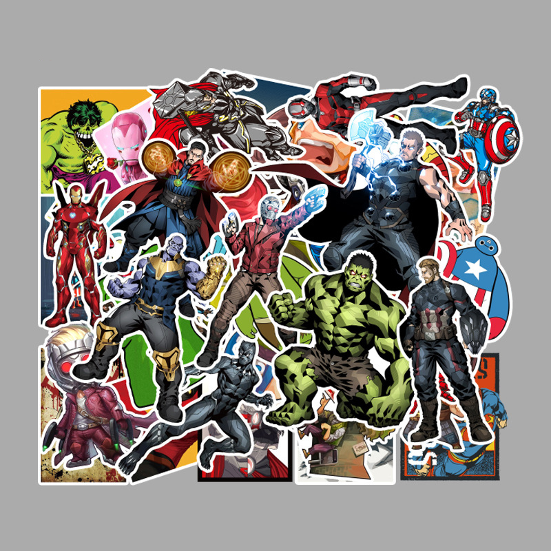 50pcs Marvel Graffiti Sticker Comic Cartoon Movie Square Stickers Children's Educational Toys Computer Skateboard