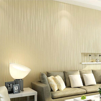 Non-woven Plain and Solid Vertical Striped Wallpaper Roll