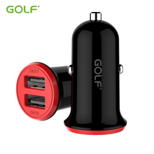 цена на GOLF 2.4A Dual Output USB Car Charger For iPhone Samsung Android Smart Mobile Phone Universal Vehicle USB Charger Charging Cable