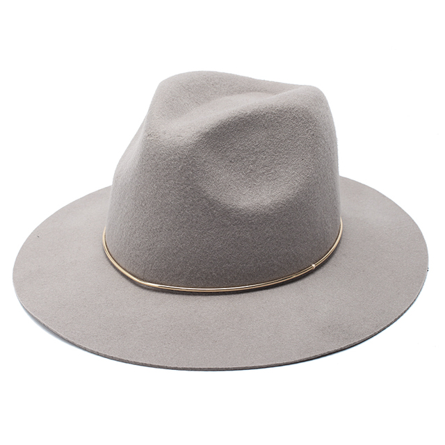 0d3f2a07371 ROSELUOSI 100% Wool Felt Jazz Hat For Women Wild Brim Panama Fedoras With  Metal Decoration Casual Solid Color Chapeau Femme