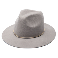 ROSELUOSI 100% Wool Felt Jazz Hat For Women Wild Brim Panama Fedoras With Metal Decoration Casual Solid Color Chapeau Femme