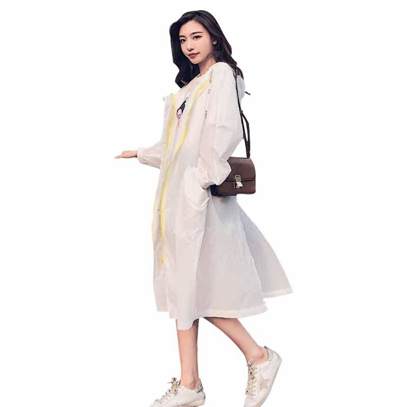 Coréenne À Nouveau Longue Grey Capuchon Dames Lâche Coupe Tempérament Ztt47 vent Protection Solaire Mode Sauvage Femmes D'été Section 2018 white Vêtements zgpqP1v