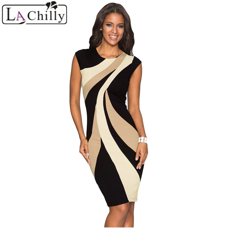 La Chilly Robe Ete Femme Woman 2018 Summer Dresses Casual Taupe Accents Colorblock Geometric Pattern Tube Ladies Dress LC610026