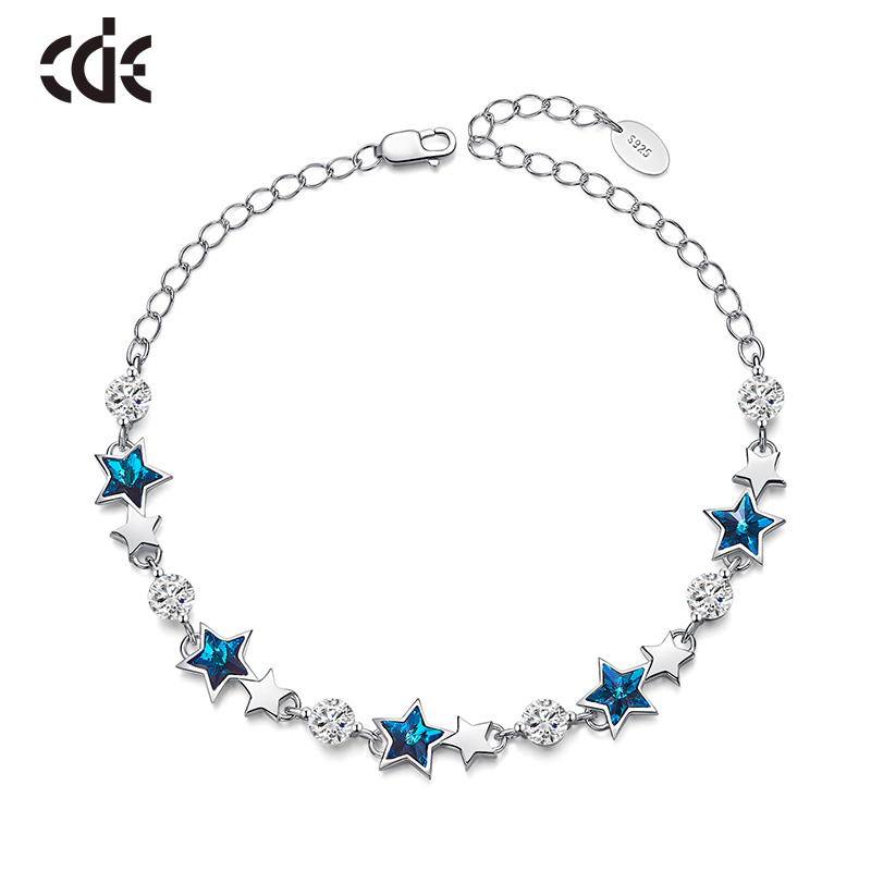 CDE Embellished with crystals from Swarovski Bracelets Jewelry woman 925 sterling silver Fashion anniversary Fine Jewelry gift-in Bracelets & Bangles from Jewelry & Accessories    1