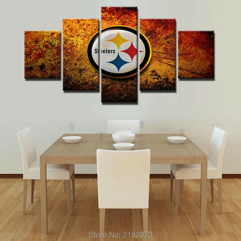 Modular Pictures Home Decor 5 Panels Pittsburgh Steelers Canvas Painting Top Rated Wall Pictures For