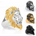 Top Charming Men's Boy's Luxury Party Jewelry 7-15size Free Choose 316L Stainless Steel Silver Black Gold Lion Head Rings
