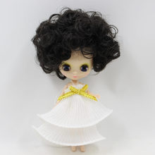 Petite Blythe Doll Qara Buruq Saç 10cm