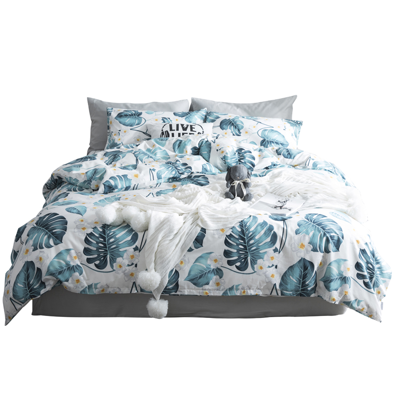 2018 Green Blue Banana Leaves Bedding Set Cotton Twin Queen Size 4Pcs Print Duvet Cover Flat Sheet/Fitted Sheet Pillow Cases