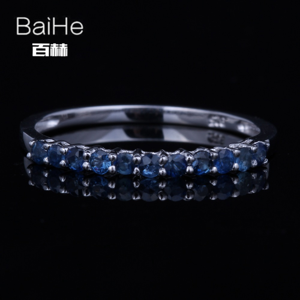 BAIHE Solid 14K White Gold(AU585)0.4CT Certified H/SI 100% Genuine Sapphire Wedding Women Trendy Fine Jewelry Ring