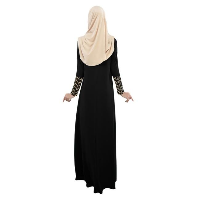 2016 Lady Lace Stitching Long Sleeve Party Full Length Dress Fashion Abaya Islamic Muslim